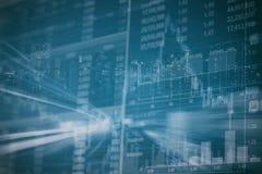 Abstrakte Finanzaktienkurve und Stadtbild in der Doppelbelichtung reden Hintergrund an Stockfotos