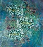 Abstrakte Fische auf blauem Hintergrund Stockbild