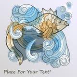 abstrakte Fische auf Spritzen des Wassers Stockfoto