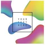 Abstrakte Flüssigkeit färbt Hintergrundplakat oder -karte Rand der Farbband-, Lorbeer- und Eichenblätter lizenzfreies stockfoto