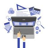 Abstrakte flache Illustration von Webdesign- und Entwicklungskonzepten Elemente für Mobile und Web-Anwendungen Stockfoto