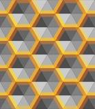 Abstrakte Form des Hexagonsilbers und -goldes, Vektormetallobjekt lizenzfreies stockbild