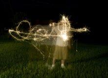 Abstrakte Form von den Sparklers Lizenzfreie Stockfotografie