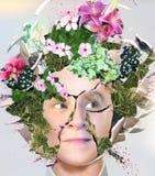 Abstrakte Form von weibliches Brainstorming-Gartenarbeitdesignen Stockfotos