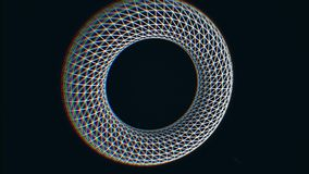 Abstrakte Form, weißes Element in der wireframe Hologrammart, die auf schwarzen Hintergrund mit den kleinen, weißen Punkten sich  stock abbildung