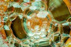 Abstrakte Fotografie unter Verwendung der Mischung der Seife und des Wassers Herstellung von Blasen Schließen Sie herauf abstrakt Lizenzfreies Stockfoto