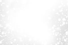 Abstrakte funkelnde Karte der frohen Weihnachten mit Weiß und Silberli Lizenzfreie Stockbilder