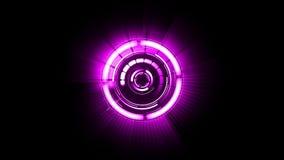 Abstrakte futuristische Bewegungsgraphik, die purpurroten Kreis mit einigen Teilen dreht vektor abbildung
