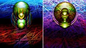Abstrakte futuristische Fahnen, Hintergrundschablonen mit modernen Lichteffekten und wissenschaftliches Muster, Beschaffenheit Lizenzfreie Stockbilder