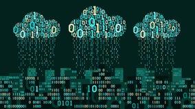 Abstrakte futuristische intelligente Stadt mit der künstlichen Intelligenz, angeschlossen an Wolkenspeicher, binärer Regen - Date Lizenzfreie Stockbilder