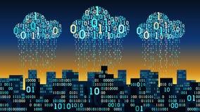 Abstrakte futuristische intelligente Stadt mit der künstlichen Intelligenz schloss an Wolkenspeicher, binärer RegenDatenstrom, gr Stockbilder