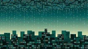 Abstrakte futuristische intelligente Stadt mit der künstlichen Intelligenz und dem Internet von Sachen, Stadt schloss Wolkenspeic Stockfoto