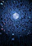 Abstrakte futuristische sich hin- und herbewegende Würfel auf Digitaltechnikkonzept Lizenzfreie Stockbilder
