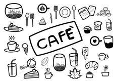 Abstrakte Gekritzellinie des Handabgehobenen betrages im Kaffee- und Lebensmittelcafékonzept Stockfotos