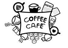 Abstrakte Gekritzellinie des Handabgehobenen betrages im Kaffeecafékonzept auf weißem Hintergrund, Vektor Stockfotos