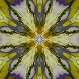 Abstrakte gelbe blaue Musterbeschaffenheit, nahtloser Hintergrund des Kaleidoskops vektor abbildung