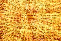 Abstrakte gelbe Leuchte-Spuren lizenzfreie stockfotos