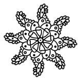 Abstrakte geometrische Elementmandalen verzieren Hand gezeichnete Abbildung Weißer lokalisierter Hintergrund der schwarzen Tinte  stock abbildung