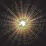 Abstrakte geometrische farbige Technologieform von glühenden Partikeln Stockbild