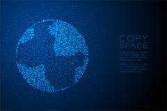 Abstrakte geometrische Kreispunktmuster Kugelform, blaue Illustration des Weltgeschäfts-Technologie-Konzeptdesigns Farb Stockbilder