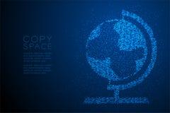 Abstrakte geometrische Kreispunktmuster Kugelform, blaue Illustration des Weltreiseveranstaltertechnologie-Konzeptdesigns Farb Stockfoto