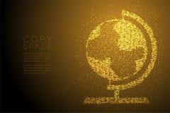 Abstrakte geometrische Kreispunktmuster Kugelform, Weltreiseveranstaltertechnologie-Konzeptdesign-Goldfarbillustration Stockfoto