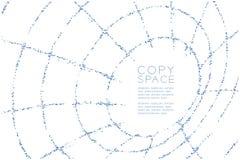 Abstrakte geometrische Kreispunktmuster Rohr Wireframe-Form, blaue Illustration des Internet-Technologiekonzeptdesigns Farb Lizenzfreie Stockfotos