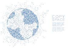 Abstrakte geometrische Kugelform Muster des quadratischen Kastens, blaue Illustration des Weltgeschäfts-Technologie-Konzeptdesign Lizenzfreie Stockfotos