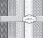 Abstrakte geometrische mit Blumenbeschaffenheiten Dekorativer Muster-Satz Lizenzfreie Stockfotos