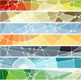 Abstrakte geometrische Mosaikfahnen eingestellt Stockbild