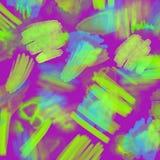 Abstrakte geometrische Neonhand 80s und 90s zeichnen Zaubermuster mit Neonfarben Neonaquarellbürsten-Farbenzauber Stockfotografie