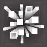 Abstrakte geometrische quadratische Erweiterungsbewegungsvolumenhintergrundschablonen-Vektorillustration Stockbild