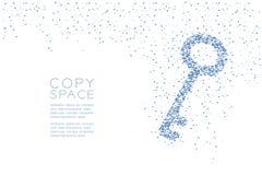 Abstrakte geometrische Schlüsselform Muster des quadratischen Kastens, blaue Illustration des Sicherheitsprivatleben-Konzeptdesig Lizenzfreie Stockfotos