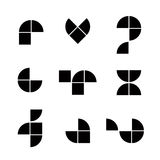 Abstrakte geometrische stark vereinfachte Ikonen stellen ein, vector Symbole Stockbild