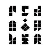Abstrakte geometrische stark vereinfachte Ikonen stellen ein, vector Symbole Lizenzfreies Stockbild