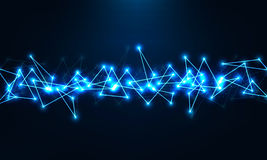 Abstrakte geometrische Technologieform von glühenden Partikeln lizenzfreies stockfoto
