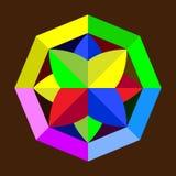 Abstrakte geometrische Zahl Logo auf einem braunen Hintergrund Stockfotografie