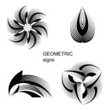 Abstrakte geometrische Zeichen, Symbole, Logos, Ikonen stockfotografie