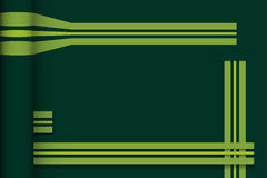 Abstrakte Geraden mit dunkelgrünem Papierhintergrund Stockbild
