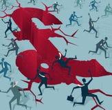 Abstrakte Geschäftsmänner laufen von einem BRITISCHEN Finanzunfall Stockbild