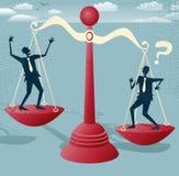 Abstrakte Geschäftsmannbalance auf riesigen Skalen Lizenzfreies Stockfoto
