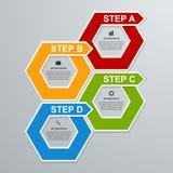 Abstrakte Geschäftswahlen infographics Schablone des Hexagons 3D Lizenzfreie Stockbilder