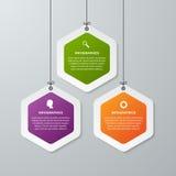 Abstrakte Geschäftswahlen infographics Schablone des Hexagons 3D Lizenzfreies Stockbild