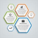 Abstrakte Geschäftswahlen infographics Schablone des Hexagons 3D Stockbilder