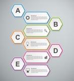 Abstrakte Geschäftswahlen infographics Schablone des Hexagons 3D Lizenzfreie Stockfotografie