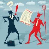 Abstrakte Geschäftsfrau unterzeichnet einen Teufelspakt Stockbild