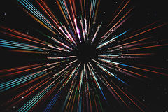 Abstrakte Geschwindigkeit zeichnet Bewegung, mit Sternhintergrund, Raumfahrt, Zeitreisekonzept Lizenzfreies Stockbild