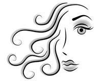 Abstrakte Gesichts-Frauen-Klipp-Kunst lizenzfreie abbildung