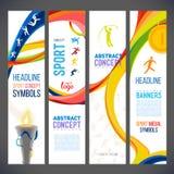 Abstrakte gewellte Linien in den verschiedenen Farben für eine Reihe Sport-bedingte Fahnen Lizenzfreies Stockfoto