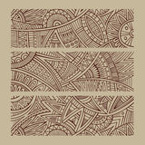 Abstrakte gezeichnete ethnische Fahnen des Vektors Hand Lizenzfreies Stockbild